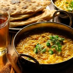 Indian red lentil curry with chapatti bread.
