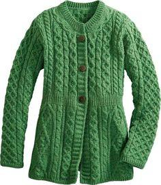 Irish Wool Empire-Waist Green Marl Cardigan Merino Wool Sweater, Wool Sweaters, Green Fashion, Cardigans For Women, Get Dressed, Cute Outfits, Empire, Stylish, My Style