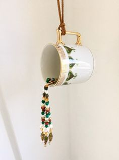 Coffee Cup Kitchen Decoration, Upcycled Coffee Mug, Window Sun Catcher, Garden Yard Decor, Hanging Bead Art, Coffee Lover Gift, Wind Chimes Upcycled Home Decor, Upcycled Crafts, Etsy Crafts, Handmade Crafts, Upcycled Furniture, Coffee Lover Gifts, Gift For Lover, Hanging Beads, Tea Party Decorations