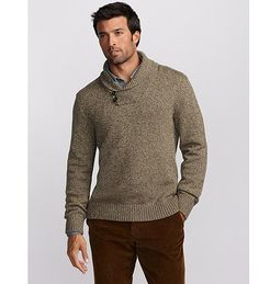 classic rag wool sweater. Shawl collar design based on British military uniform sweater worn today by US Navy officers.