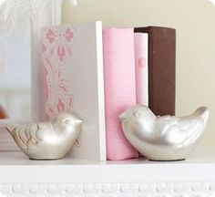 Silver Leaf Bird Bookends.