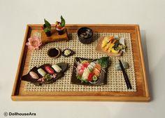 Sushi, Sashimi, Maki Japanese food sets-Handcraft Dollhouse Miniatures 1/12
