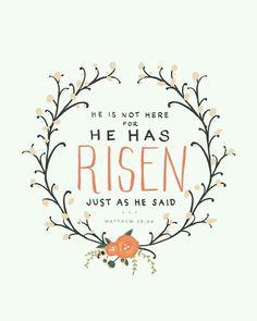 """Matthieu 28:6 """"Il n'est point ici; il est ressuscité, comme il l'avait dit."""""""