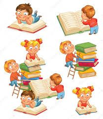Stock vector of 'Children reading books in the library. Isolated on white background. Kindergarten Activities, Fun Activities, Kids Reading Books, Elementary Education, Happy Kids, Early Childhood, Kids Learning, Books To Read, Cartoon