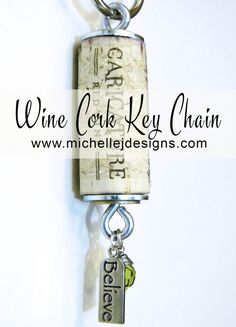 Make a fun wine cork key chain and add some fun beads and charms. Your friends will love to receive these as gifts. Wine Cork Art, Wine Cork Crafts, Wine Bottle Crafts, Wine Bottles, Bottle Candles, Wine Cork Jewelry, Wine Cork Projects, Diy Projects, Diy Keychain