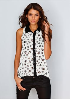 blouse with skull and cross bones <3 <3 <3