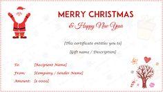 Printable Christmas Gift Certificates Templates Free Gift Certificate Format #giftcertificate .
