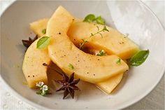 Cantaloupe w/ ginger syrup