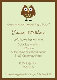 green owl shower invitation
