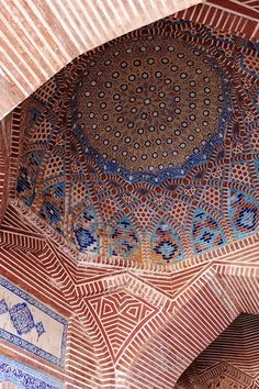 Shahjahan Mosque Ceiling Ceramic Islamic architecture Islamic interlace patterns Mughal Empire Mughal architecture Pakistan Shah Jahan Sindh Thatta World Heritage Site image.
