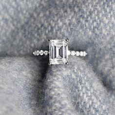 The Willow Engagement Ring with a 2.0ct emerald cut Diamond Hybrid in 14k white gold