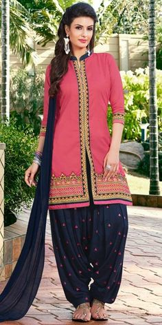 Heartily Pink And Navy Blue Cotton Patiala Suit.