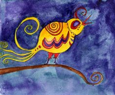 Bird ART Yellow Sing Watercolor Painting Print by MazzyBlueStudios, $20.00