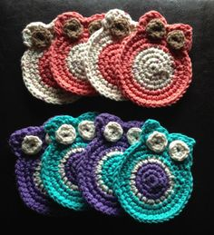 Crochet owl coasters so want these in fall colors :)