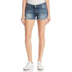 DL1961 Karlie Cutoff Denim Shorts in Bluegrass ($135) ❤ liked on Polyvore featuring shorts, bluegrass, short denim shorts, short jean shorts, cut-off shorts, summer shorts and summer denim shorts
