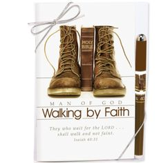 Walking by Faith Devotion Book & Pen Gift Set. A great gift to give for Father's Day!