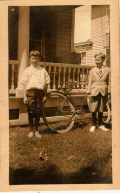 Old Vintage Antique Photograph Two Boys in Front Yard With Big Bicycle Bike