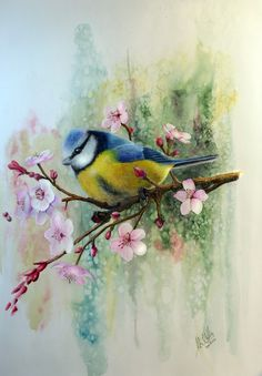 John Willis, Blue Tit and Plum Blossoms, Pastel and Watercolor