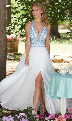 Long White Deep V-Neck Prom Dress