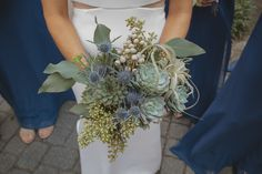 This amazing bouquet of succulents and thistles was a stunner against the bride's super chic dress! Harts + Petals, W. Thistle Bouquet, Three Little Birds, Thistles, Raw Beauty, Atlanta Wedding, Industrial Chic, Chic Dress, Chester, Chic Wedding