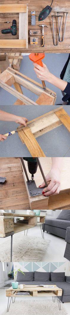 Mesa DIY con palé y pies hairpin - http://de.dawanda.com - DIY Hairpin Pallet Tablet