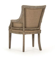 I absolutely love the look of a deconstructed chair. This low arm occasional chair is upholstered in a durable warm gray textured fabric. It features an exposed elm frame and burlap lining and is acce