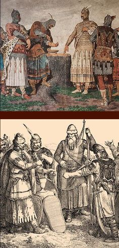 Blood oath of the seven tribe leaders of the magyars by Bertalan Székely Hungary History, Military Costumes, Old King, Heart Of Europe, Austro Hungarian, Sword And Sorcery, Budapest Hungary, Ancient Artifacts, Vintage Artwork