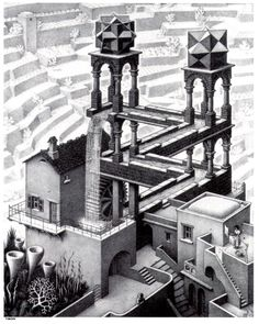 Escher. I've always loved Escher This was an art project in high school :)