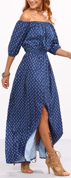 Off-The-Shoulder Slit Front Printed Dress - Blue