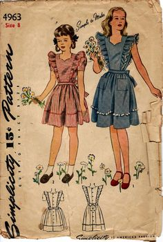 1943 Girls' Dress and Pinafore  Simplicity 4963  Size 8  by HelaQ