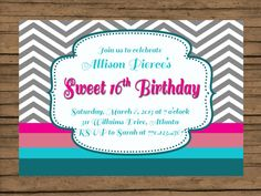 Sweet 16 Birthday Party Invitation by PinkChampagnePaper #Etsy #sweet16