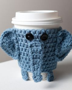 Crocheted Cuddly Elephant Coffee Cup Cozy by CuddlefishCrafts. I think I need this.