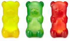 giant gummy bear lamps... looks and feels like a giant gummy bear, squeeze it's belly to switch on/off light. :)