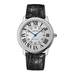Ronde Solo Cartier Watch, Extra-Large Model Automatic, steel, leather Roman numerals, blue sword-shaped hands, winding mechanism crowned with a sapphire and rail-track minute circle.