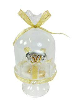 Alzata con uccellino in vetro confezionata con blasone  argento 50° anniversario di matrimonio #nozzeoro #bomboniera #alzata #anniversario