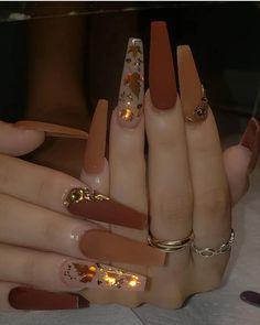 Bling Acrylic Nails, Acrylic Nails Coffin Short, Best Acrylic Nails, Bling Nails, Swag Nails, Autumn Nails Acrylic, Nails & Co, Matte Nails, Gel Nails