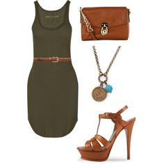A fashion look from February 2015 featuring Enza Costa dresses, Yves Saint Laurent sandals and MICHAEL Michael Kors messenger bags. Browse and shop related loo…