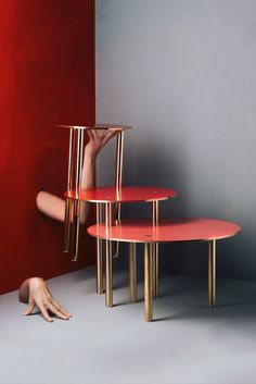 Week of November 6, 2017 - Huskdesignblog, Design Discoveries | Giorgio Bonaguro, brass collection | Italian designer | Italian furniture collection | brass coffee tables | brass candleholder | red coffee table | red walls | set design | halloween scenography | human scenography | strange furniture | new collection | Italian furniture | design trends 2017-2018