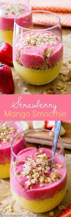 http://www.modelhomekitchens.com/category/Nutri-Ninja/ Deliciously simple and HEALTHY strawberry mango smoothie with hearty granola for a satisfying breakfast! #weightlossmotivationbeforeandafter