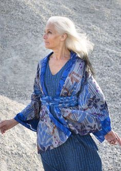 Printed kimono jacket in classic cut with shawl collar and lovely details. Just as perfect with pants, dress or skirt. Open style, but with a simple tie at the front. Fully lined with the same print as the outer fabric, but in accent color. Gudrun, Swedish Fashion, Mature Fashion, Dress Trousers, Advanced Style, Kinds Of Clothes, Comfortable Outfits, Models, Beautiful Outfits