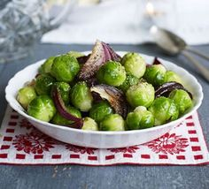Glazed sprouts with caramelised red onions