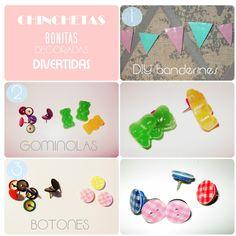Creative Mindly: Chinchetas personalizadas y decoradas / Decorative Thumb tacks