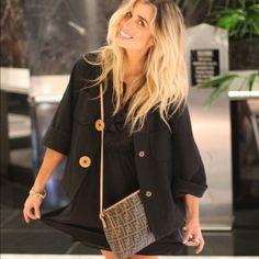 Black Nanette Lepore coat Wooden buttons Nanette Lepore Jackets & Coats
