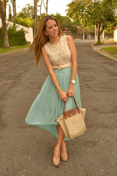 ivory lace top, mint pleated skirt, nude pumps