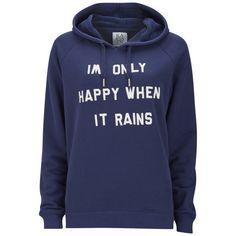 Zoe Karssen Women's Only Happy When It Rains Hoody ($74) ❤ liked on Polyvore featuring tops, hoodies, jackets, sweaters, blue, blue hoodie, hoodie top, long sleeve hoodie, hooded sweatshirt and blue top