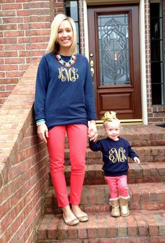 love these matching monogram sweatshirts -- mom & daughter! - - Mommy and Me Fashion Mommy And Me Outfits, Girl Outfits, Cute Outfits, My Little Girl, My Baby Girl, Fashion Kids, Monogram Sweatshirt, Moda Chic, Kids Fashion