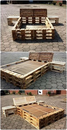 DIY Pallet Bed Frame with Nightstands - Pallet Beds from Pallet Furniture