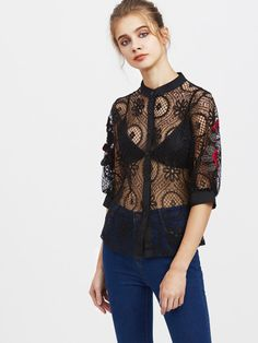 b337a5f4b2 Lace Embroidered Button Front Top Floral Tops