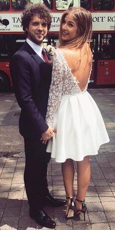 long sleeve short bridal gowns wedding dresses 2