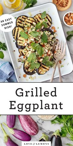 Learn how to grill eggplant perfectly every time! Then, top the tender, charred eggplant slices with an herbed couscous salad to make a healthy, delicious summer side dish. | Love and Lemons #grillingrecipes #eggplant #sidedish #vegan Grilling Recipes, Vegetable Recipes, Vegetarian Recipes, Cooking Recipes, Healthy Recipes, Vegetarian Grilling, Healthy Grilling, Vegetarian Dinners, Barbecue Recipes